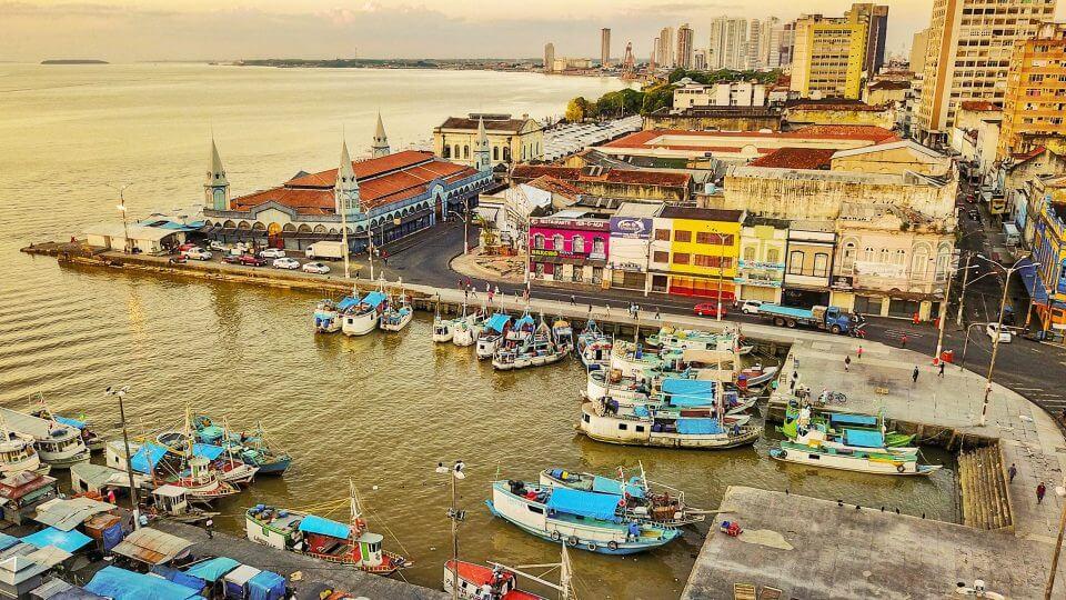 Ver-o-Peso visto do alto, em Belém. Foto: Paulo Lima.